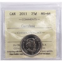 2011 Canada Caribou 25-cents ICCS Certified MS-66