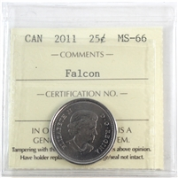 2011 Canada 25-Cents ICCS Certified MS-66 Falcon