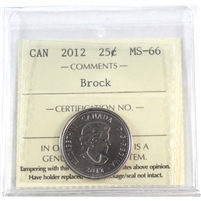 2012 Canada Brock 25-cents ICCS Certified MS-66