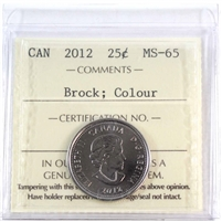 2012 Canada Brock Colour 25-cents ICCS Certified MS-65