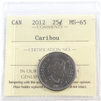 2012 Canada Caribou 25-cents ICCS Certified MS-65
