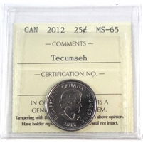 2012 Canada Tecumseh 25-cents ICCS Certified MS-65