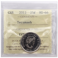 2012 Canada Tecumseh 25-cents ICCS Certified MS-66