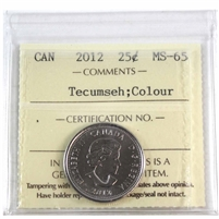 2012 Canada Tecumseh Colour 25-cents ICCS Certified MS-65