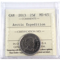 2013 Canada Arctic Expedition 25-cents ICCS Certified MS-65