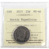 2013 Canada Arctic Expedition 25-cents ICCS Certified MS-66