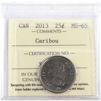 2013 Canada 25-Cents ICCS Certified MS-65 Caribou