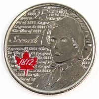 2013 Canada Coloured Secord 25-cents Brilliant Uncirculated (MS-63)