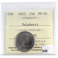 2013 Canada Salaberry 25-cents ICCS Certified MS-66