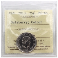 2013 Canada Salaberry Colour 25-cents ICCS Certified MS-66