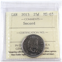 2013 Canada Secord 25-cents ICCS Certified MS-65
