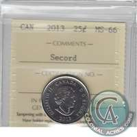 2013 Canada Secord 25-cents ICCS Certified MS-66