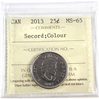 2013 Canada Secord Colour 25-cents ICCS Certified MS-65