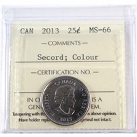 2013 Canada Secord Colour 25-cents ICCS Certified MS-66