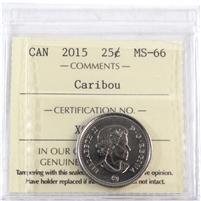 2015 Canada Caribou 25-cents ICCS Certified MS-66