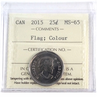 2015 Canada Coloured Flag 25-cents ICCS Certified MS-65
