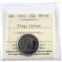 2015 Canada Coloured Flag 25-cents ICCS Certified MS-66