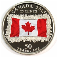 2015 Canada Coloured Flag 25-cents Proof