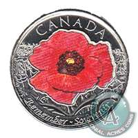 2015 Canada Coloured Poppy 25-cents Brilliant Uncirculated (MS-63)
