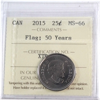 2015 Canada Flag 25-cents ICCS Certified MS-66