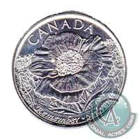 2015 Canada Poppy (Non-Coloured) 25-cents Brilliant Uncirculated MS-63