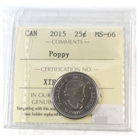 2015 Canada Poppy 25-cents ICCS Certified MS-66
