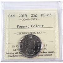 2015 Canada Poppy Colour 25-cents ICCS Certified MS-65