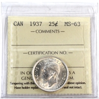 1937 Canada 25-Cents ICCS Certified MS-63 (XQL 210)