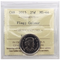 2015 Canada Colour Flag 25-cent ICCS Certified MS-64