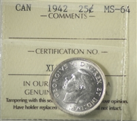 1942 Canada 25-cents ICCS Certified MS-64 (XLE 994)