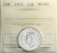 1945 Canada 25-cents ICCS Certified MS-63 (XUM 181)