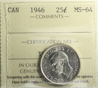 1946 Canada 25-cents ICCS Certified MS-64 (XPF 984)