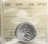 1997 Canada 25-cents ICCS Certified SP-67