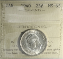 1940 Canada 25-cents ICCS Certified MS-65 (XFR 237)