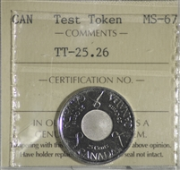 (2006) Canada 25-cents Test Token TT-25.26 ICCS Certified MS-67