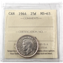 1944 Canada 25-cents ICCS Certified MS-63 (XVZ 416)