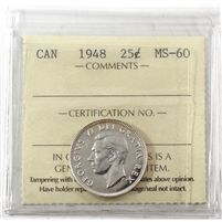 1948 Canada 25-cents ICCS Certified MS-60 (XRE 950)