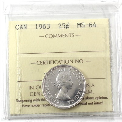 1963 Canada 25-cents ICCS Certified MS-64