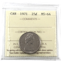 1971 Canada 25-cents ICCS Certified MS-64