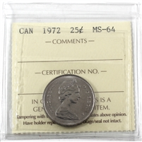 1972 Canada 25-cents ICCS Certified MS-64
