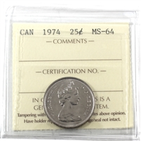 1974 Canada 25-cents ICCS Certified MS-64