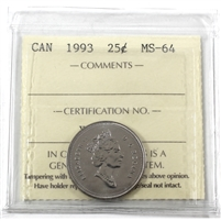 1993 Canada 25-cents ICCS Certified MS-64