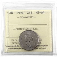 1994 Canada 25-cents ICCS Certified MS-64