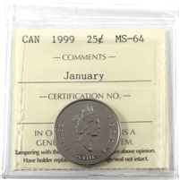 1999 January Canada 25-cents ICCS Certified MS-64