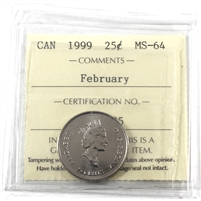 1999 February Canada 25-cents ICCS Certified MS-64