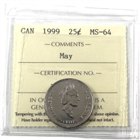1999 May Canada 25-cents ICCS Certified MS-64