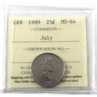 1999 July Canada 25-cents ICCS Certified MS-64
