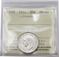 1937 Canada 25-cents ICCS Certified MS-64 (XVP 205)