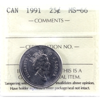 1991 Canada 25-cent ICCS Certified MS-66