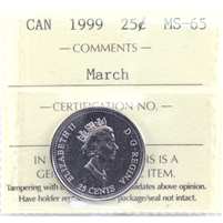 1999 March Canada 25-cents ICCS Certified MS-65